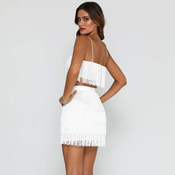 9520d387f42 Meski Dresses | Sofia Fringe Crop Top And Skirt White | Poshmark